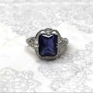 NEW 2CT Blue Sapphire Ring - 925 Sterling Silver